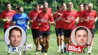 «Blick»-Reporter Michel Wettstein und «Aargauer Zeitung»-Sportchef Etienne Wuillemin duellieren sich in der grossen FC Aarau-Wette.