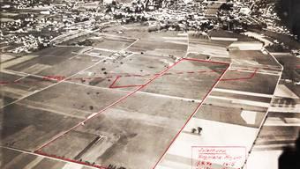 Solothurn noch ohne Weststadt: Die Aufnahme vom 19. April 1940 zeigte das Areal des Flugplatzes und die Leitung der AEK
