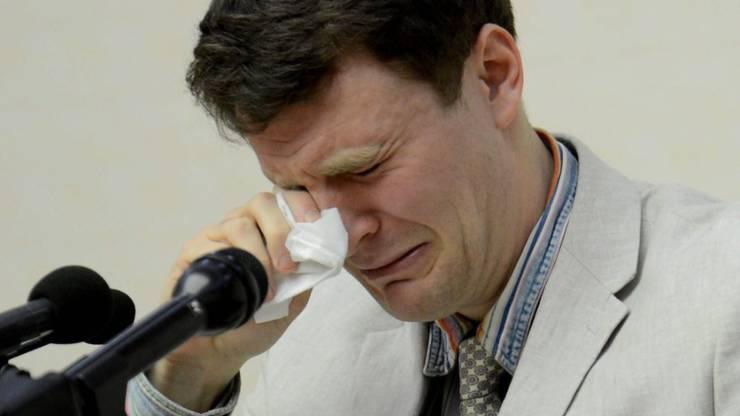 Otto Warmbier unter Tränen am Schauprozess.