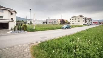 Die Bauprofile am Wiesenweg zeigen die Dimensionen der zwei Gebäude an, die die Aargauische Pensionskasse bauen will.