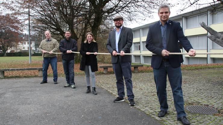 v.l.n.r. Reto Friedli, Daniel Brunner, Melanie Racine, Thomas Rüeger und Philippe Weyeneth (bisher).