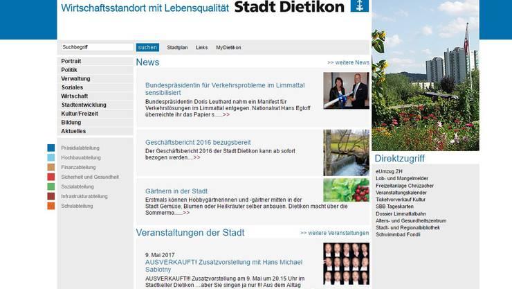 Die Website der Stadt Dietikon soll im Herbst in neuem Kleid erscheinen.