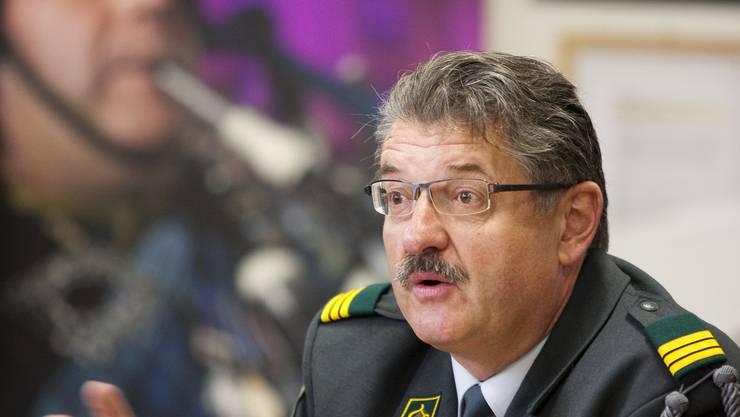 Oberst Robert Grob orientierte über den Einsatz des Militärs am Basel Tattoo. patrick straub/zvg