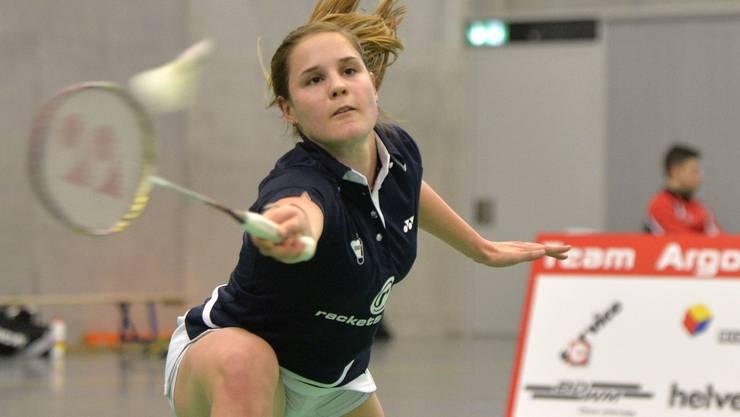 Auf die Badminton-Spielerin Ayla Huser vom Team Argovia wartet eine hohe Hürde.