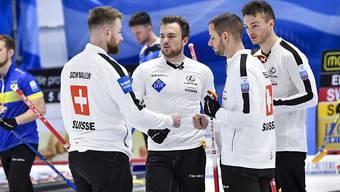 Die Schweizer Meister um Skip Yannick Schwaller (links) vor einer ungewissen olympischen Zukunft