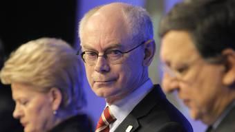 EU-Ratspräsident Herman Van Rompuy (M.) in Brüssel