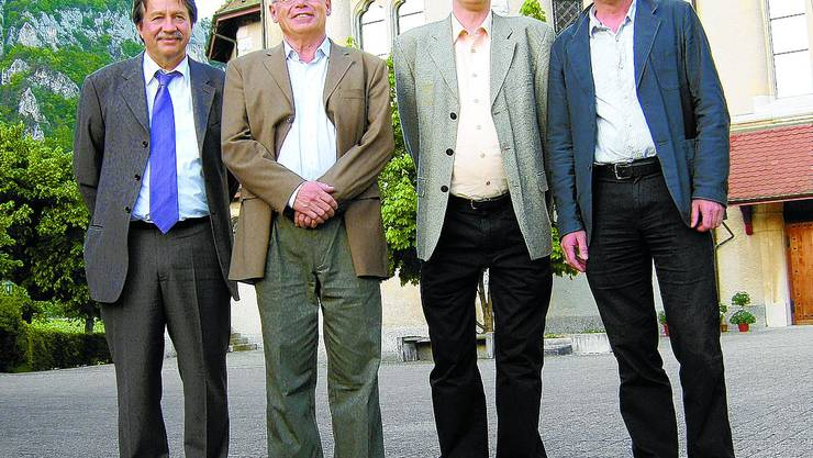 Ex-Sekretäre Christian Hanser, Ruedi Meier, Martin Stokar und der heutige Geschäftsführer Hans Weber (v.l.). (Bild: fmb)