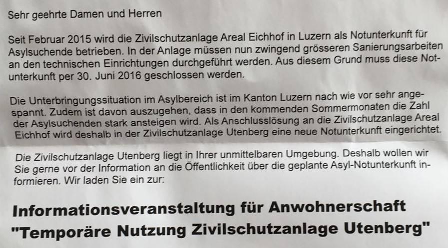 Auszug aus dem Schreiben des Kantons an die Anwohner.