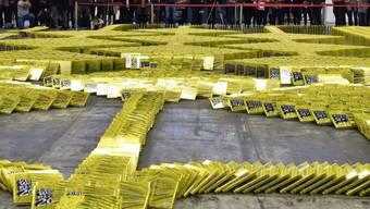 Guinness-Bücher für das Guinness-Buch: Der Weltrekord im Bücher-Domino wurde auf der Frankfurter Buchmesse gebrochen.