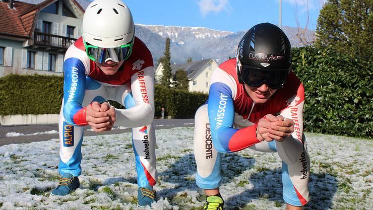 Daniel Albrecht und Didier Cuche alias Mario und Fabio Belloni. Kleeb