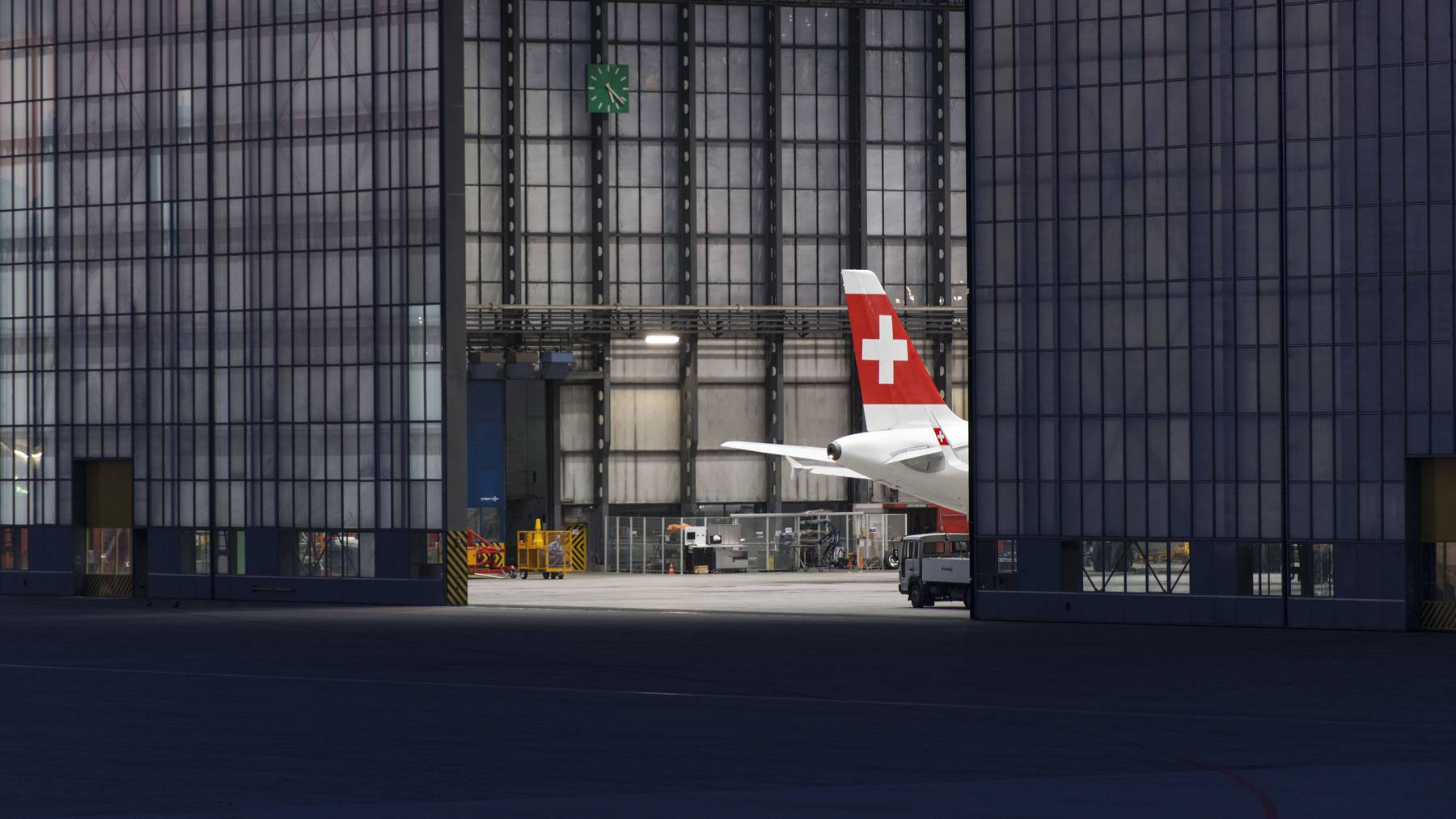 The tail section of a Swiss International Air Lines airplane at the aircraft maintenance center at Zurich Airport in Kloten in the Canton of Zurich, Switzerland, pictured on July 24, 2014.