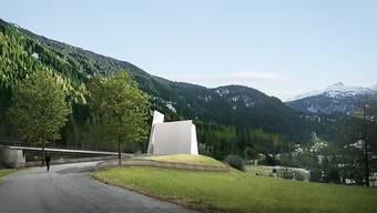 Die erste Schweizer Autobahnkirche der Schweiz im Modell von aussen betrachtet.