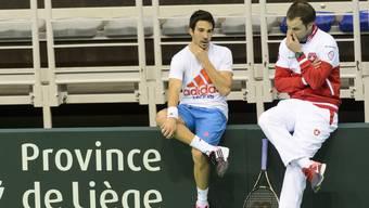 Marti (links) und Lüthi beim Davis Cup 2015 in Lüttich.