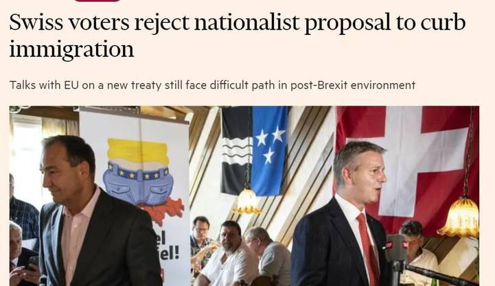 Die SVP-Politiker Thomas Matter (links) und der Marco Chiesa, neuer Parteichef, schaffen es prominent in die« Financial Times».