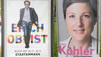 Die aktuellen Wahlplakate der Stadtammannkandidaten an der Bruggerstrasse.