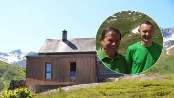Die erweiterte Vermigelhütte oberhalb von Andermatt. Rechts Alt Nationalrat Franz Steinegger (links) und SAC-Zofingen-Präsident Beat Weber.