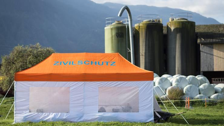 Ein Zelt des Zivilschutzes.