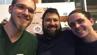 Wollen Pilze im Keller produzieren: Matthias Nebel, Armin Sirch und David Jucker.