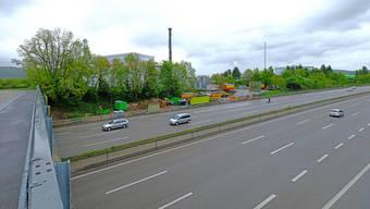 Hier, zwischen der A2 und der ARA Rhein (hinter den Bäumen), wird künftig die Rheinstrasse durchführen.Ken