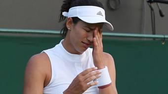 Als Vorjahressiegerin schon in der 2. Runde ausgeschieden - das tut Garbiñe Muguruza weh