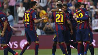 Ein oft gesehenes Bild: Barcelona-Spieler am Jubeln