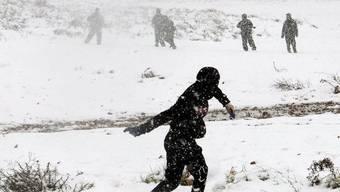 Eini Palästinenser wirft Steine nach israelischen Soldaten (Archiv)