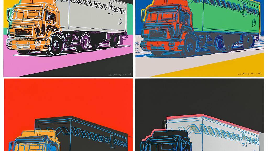 HANDOUT - Die Druckgrafiken der «Truck Series» von Andy Warhol sollen nach Angaben des Auktionshauses Christie's im September gezeigt und online versteigert werden. Foto: Christie's Images Limited 2021/dpa Foto: Christie's Images Limited 2021/dpa - ACHTUNG: Nur zur redaktionellen Verwendung im Zusammenhang mit einer Berichterstattung über die Auktion und nur mit vollständiger Nennung des vorstehenden Credits