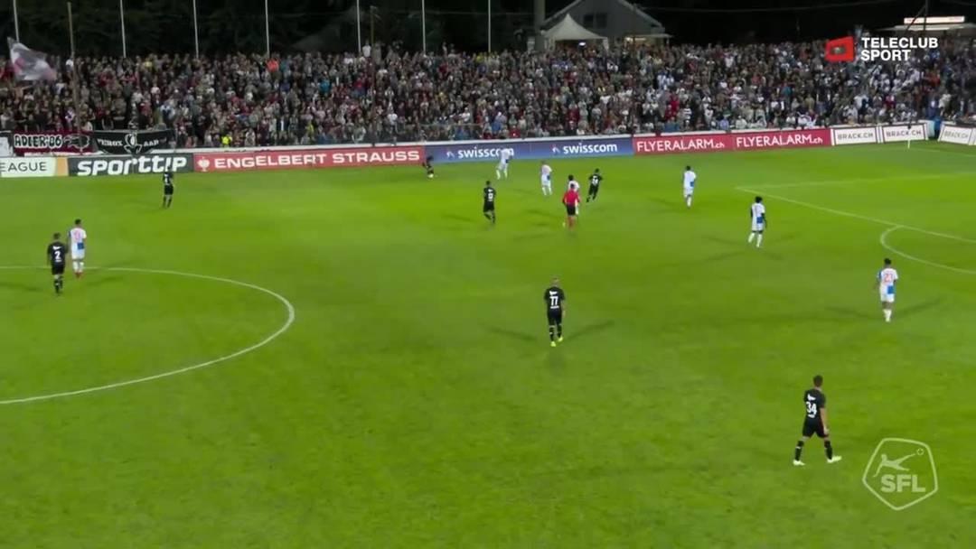 Challenge League, 2019/20, 3. Runde, FC Aarau – GC Zürich, 75. Minute: Lattenschuss von Yvan Alounga.