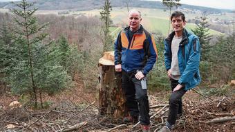 Für den Wald gibt es viel zu tun: Revierförster Christoph Sütterlin und Kantonsrat Stefan Oser.