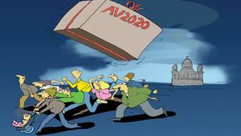 Die Karikaturen haben die Jungfreisinnigen entworfen, die sich gegen die AHV-Reform richten.