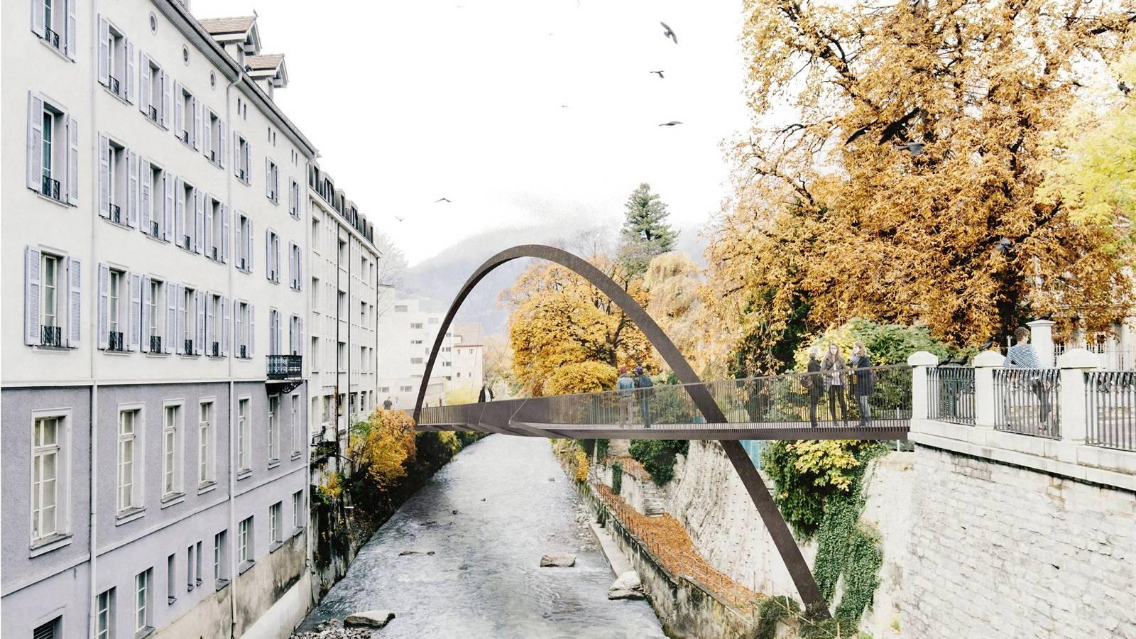 In Chur entsteht eine Brücke für Radfahrer und Fussgänger.