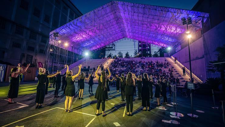 Der Solothurner Mädchenchor trat am Wochenende in der Arena auf, die er gratis nutzen durfte.