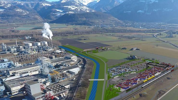 Eine Computermontage zeigt das geplante Umladeterminal (rechts im Bild) nahe des Industriegebiets. Das auf 90 Millionen Franken veranschlagte Verkehrsprojekt soll die Verlagerung des Schwerverkehrs von der Strasse auf die Schiene verbessern.