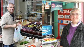 Antonio Siragusa schliesst heute seinen Lebensmittelladen, Yolanda Christen ihren Kiosk Ende Juli.