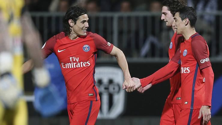 Cavani (links) brachte Paris Saint-Germain in Führung