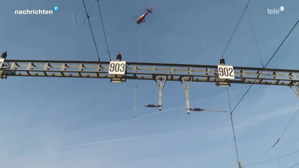 Helikopter im Einsatz für Doppelspurausbau der Zentralbahn