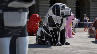 """""""DigiDog"""" ist eine Kreation des Künstlers Ata Bozaci im Auftrag von Energie Wasser Bern (ewb). Am 21. Juni wurde er mit weiteren rund 100 Bernhardiner-Skulpturen auf dem Bundesplatz präsentiert."""