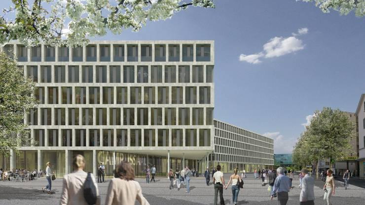 So soll der geplante Campus-Neubau auf dem Markthallenareal Windisch aussehen. Büro B/arttools