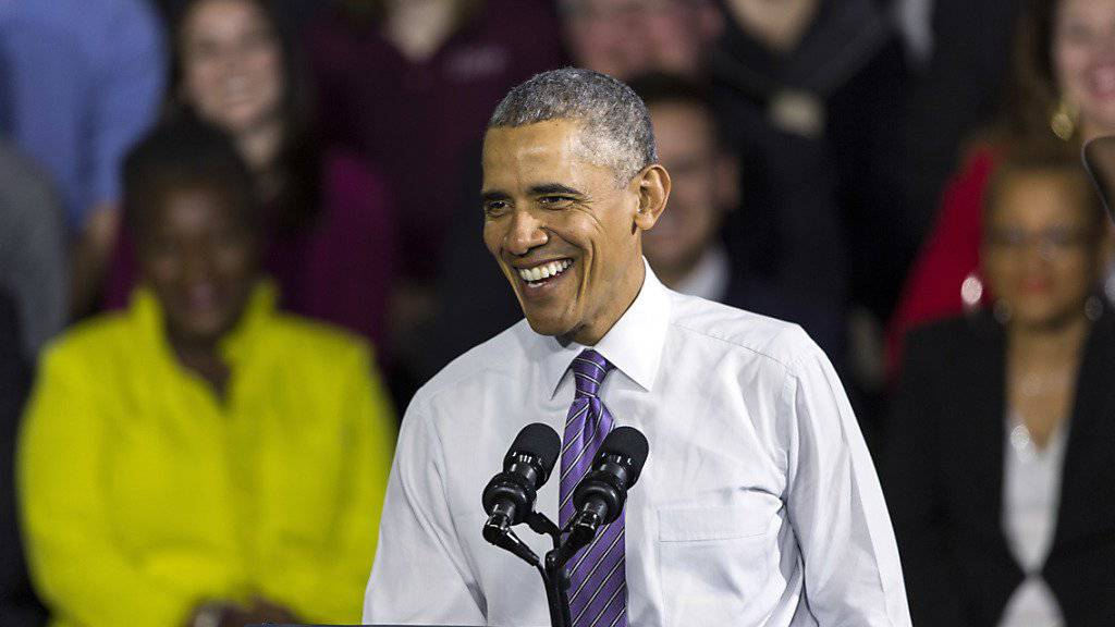 Barack Obama am Donnerstag im United Community Center in Milwaukee, wo er verkündete, dass er bis zum Highschool-Abschluss seiner Tochter Sasha in Washington bleibt.