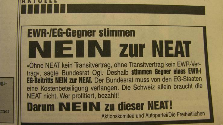 Die Neat-Abstimmung war schon stark vom Kampf um den EWR-Beitritt geprägt (Inserat im OT vom 18.9.1992).