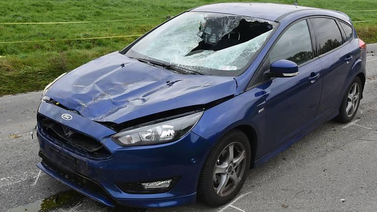 Die Folgen eines Ausflugs von Kühen auf eine Landstrasse in Neuenkirch: Eine leicht verletzte Frau, ein erheblich verletztes Rind, ein arg beschädigtes Auto.