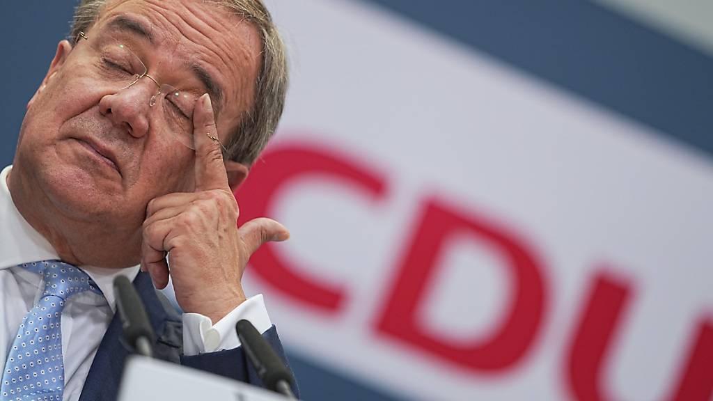 CDU-Kanzlerkandidat Armin Laschet gibt eine Pressekonferenz. Foto: Michael Kappeler/dpa