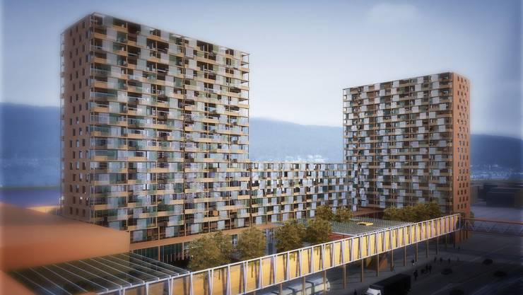 Visualisierung des Projektes mit den Wohnbauten und dem Bahnhof Limmattalbahn.