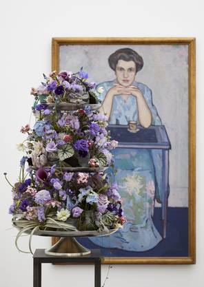 Florale Interpretation von Andreas Geissmann, Untervaz zum Werk von Otto Wyler, Dame im Kimono, 1912