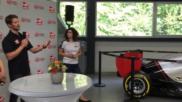 Formel-1-Fahrer Romain Grosjean spricht in Rupperswil über sein Training und seine Rennvorbereitung.