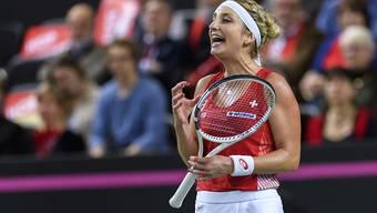 Erfolgreich nach hartem Kampf: Timea Bacsinszky brachte die Schweiz im Fedcup-Viertelfinal gegen Frankreich 1:0 in Führung
