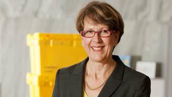 Gelb ist nun ihre Farbe: Die neue Post-Chefin Susanne Ruoff am Hauptsitz in Bern.