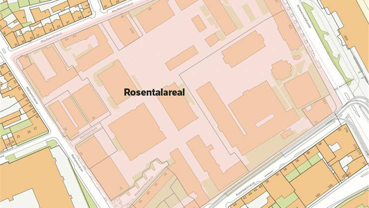 Das Rosentalareal auf dem Geoportal des Kantons Basel-Stadt