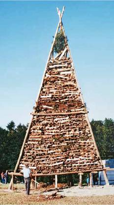 Das Chutzenfeuer im Jubiläumsjahr 1991 auf dem Homberg