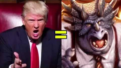 Die Ähnlichkeit zwischen Donald Trump und dem tyrannisierenden Dino ist verblüffend.